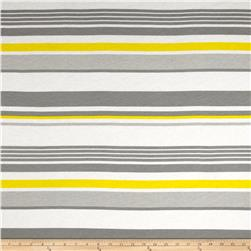 Designer Tissue Jersey Knit Stripes Grey/Yellow