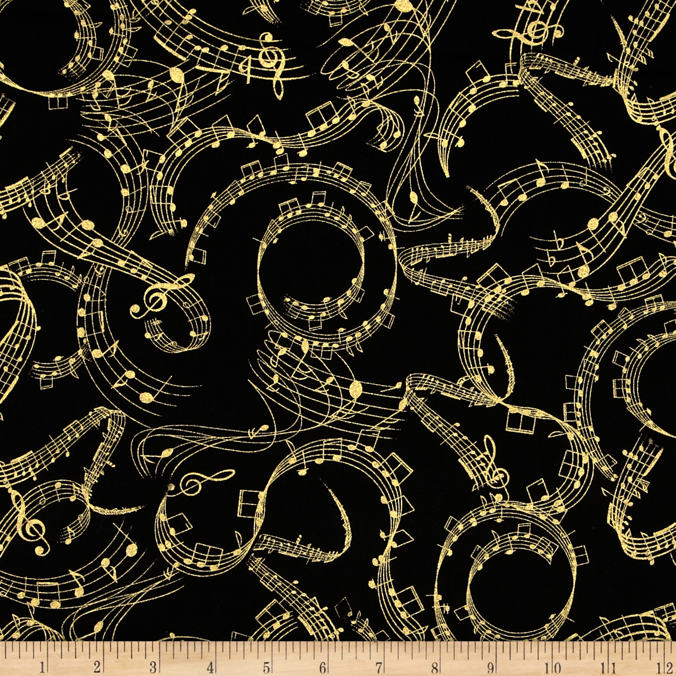 Timeless Treasures Prelude Metallic Music Notes Black Fabric