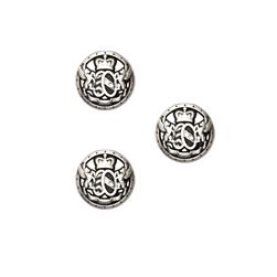 "Fashion Button 5/8"" Royal Shield Silver"