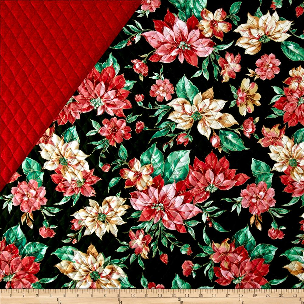 Holiday Editions Double Sided Quilted Pointsetta Black  Fabric