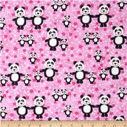 Comfy Flannel Panda Bears Pink Fabric
