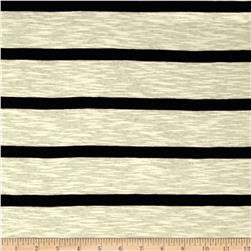 Slub Yarn Dyed Jersey Knit Stripe Black/Cream
