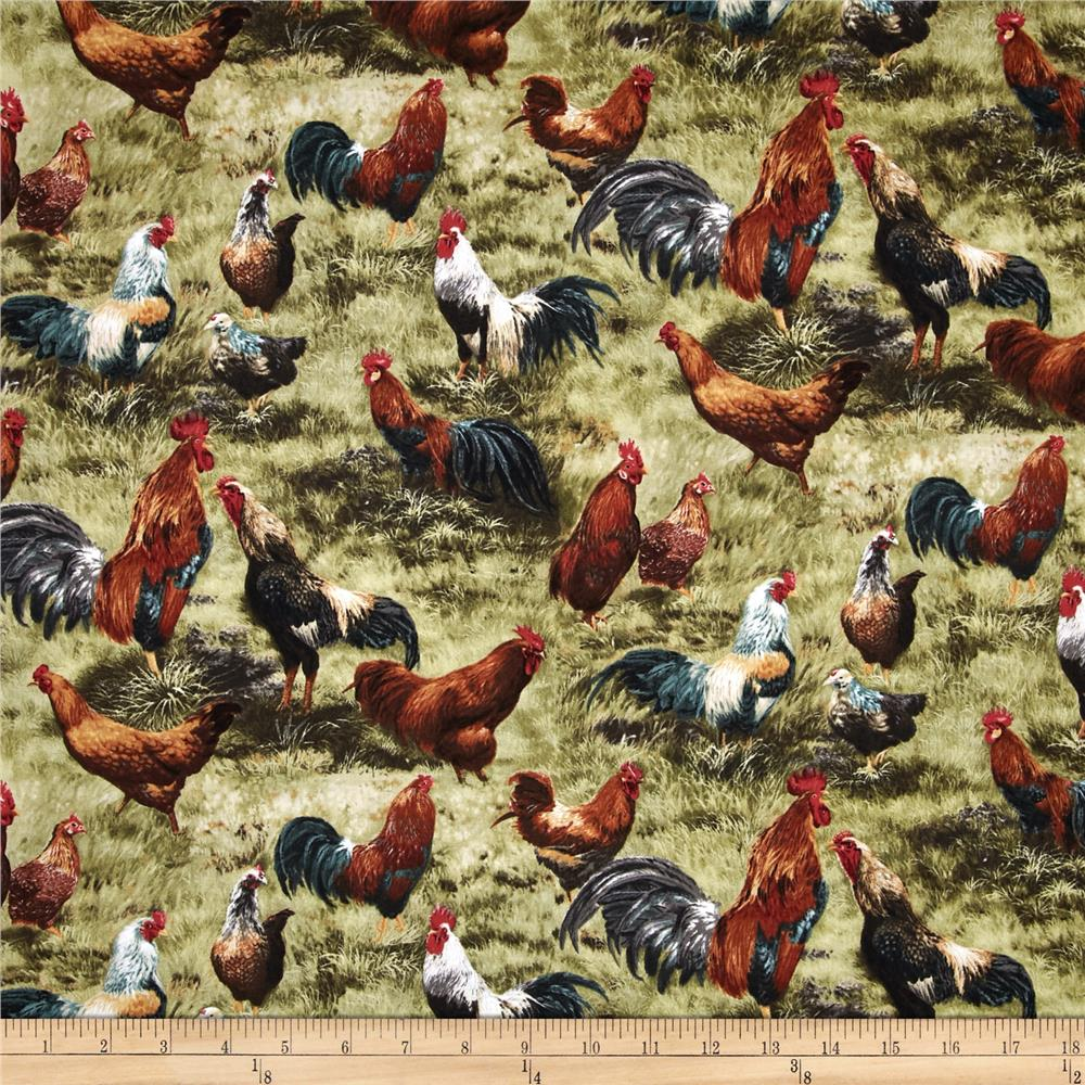 Timeless Treasures French Country Roosters Olive