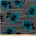 Brazil Stretch ITY Knit Floral/Stripe Print Teal