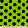 Soft Jersey Knit Dots Lime/Black