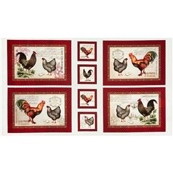 French Country Rooster Placement Panel Multi