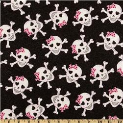 Skulls Glitter Glam Black Fabric
