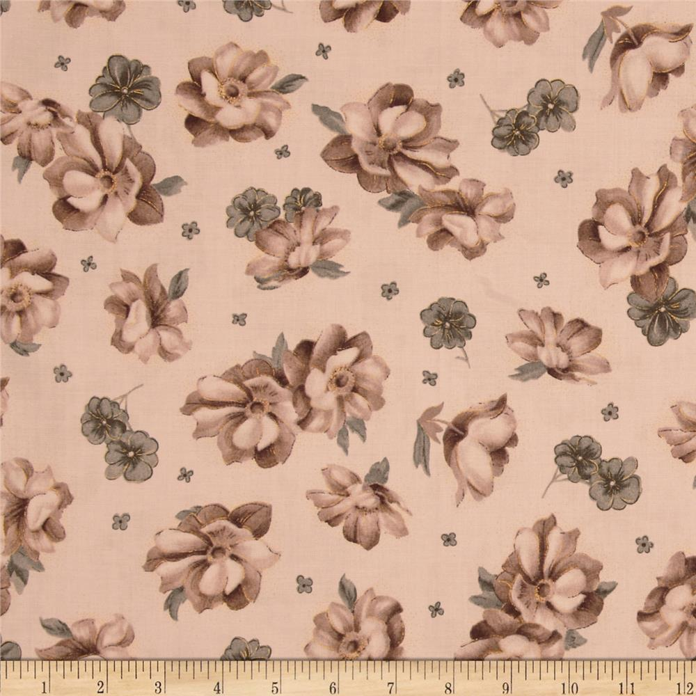 Nuance Tossed Flowers Taupe