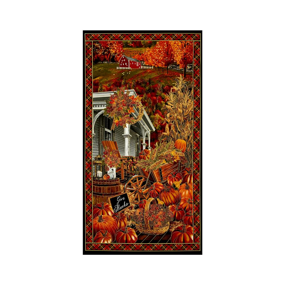 "Timeless Treasures Give Thanks Metallic 24"" Harvest Farm Panel Pumpkin"