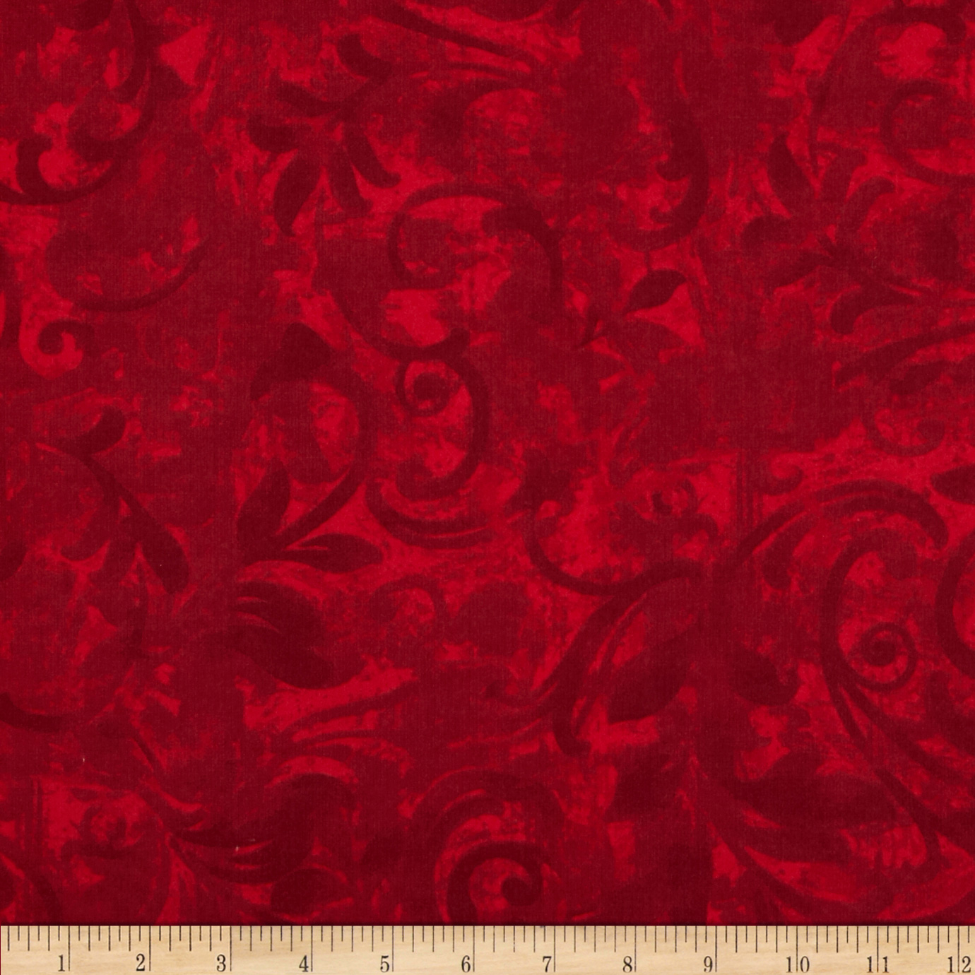 Christmas Flannel Swirls Red Fabric
