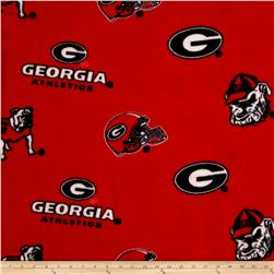 Collegiate Fleece University of Georgia Red Fabric