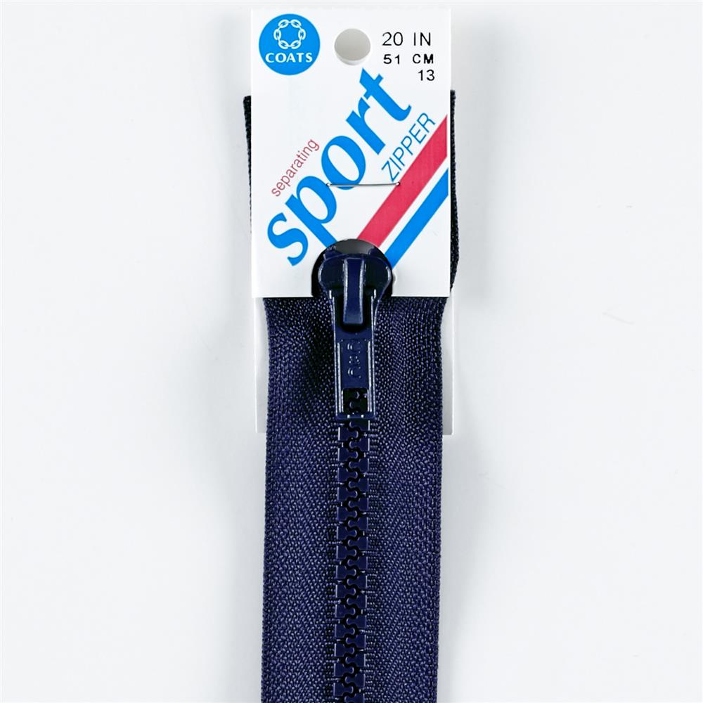 "Coats & Clark Sport Separating Zipper 20"" Navy"