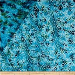 Double Face Quilted Indian Batik Small Ikat Teal