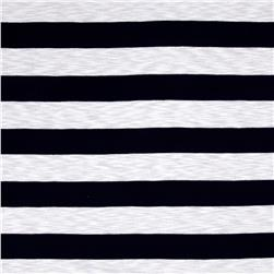 Designer Jersey Knit White/Navy Stripe