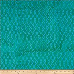 Indian Batik Hollow Ridge Grid Jade