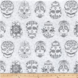 Day Of The Dragonfly Color Me Sugar Skulls White/Black