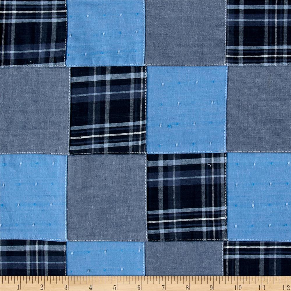 Kaufman Plaid Patchwork Solid Blue