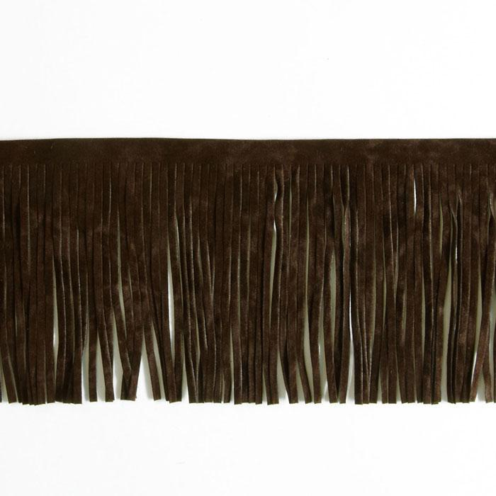 4'' Faux Suede Fringe Trim Brown