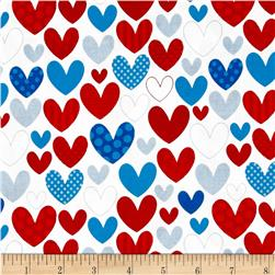 Riley Blake Star Spangled Stripes Hearts White