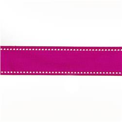 "May Arts 1 1/2"" Grosgrain Stitched Edge Ribbon Spool Fuchsia/White"