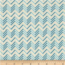 Lovebirds Chevron Cream Blue Fabric