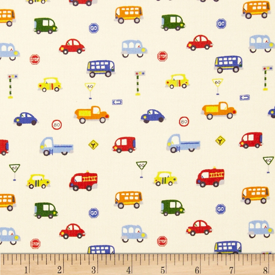 Kokka Corduroy Cars Cream Fabric