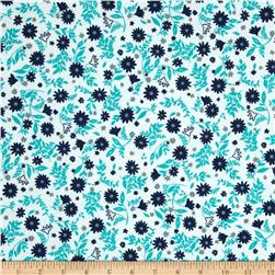 Robert Kaufman Cozy Cotton Flannel Flowers & Leaves Jade