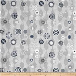 Icy Winter Silver Metallic Snowflakes Gray