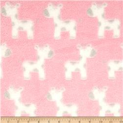 Minky Snuggle Fleece Baby Giraffe Light Pink