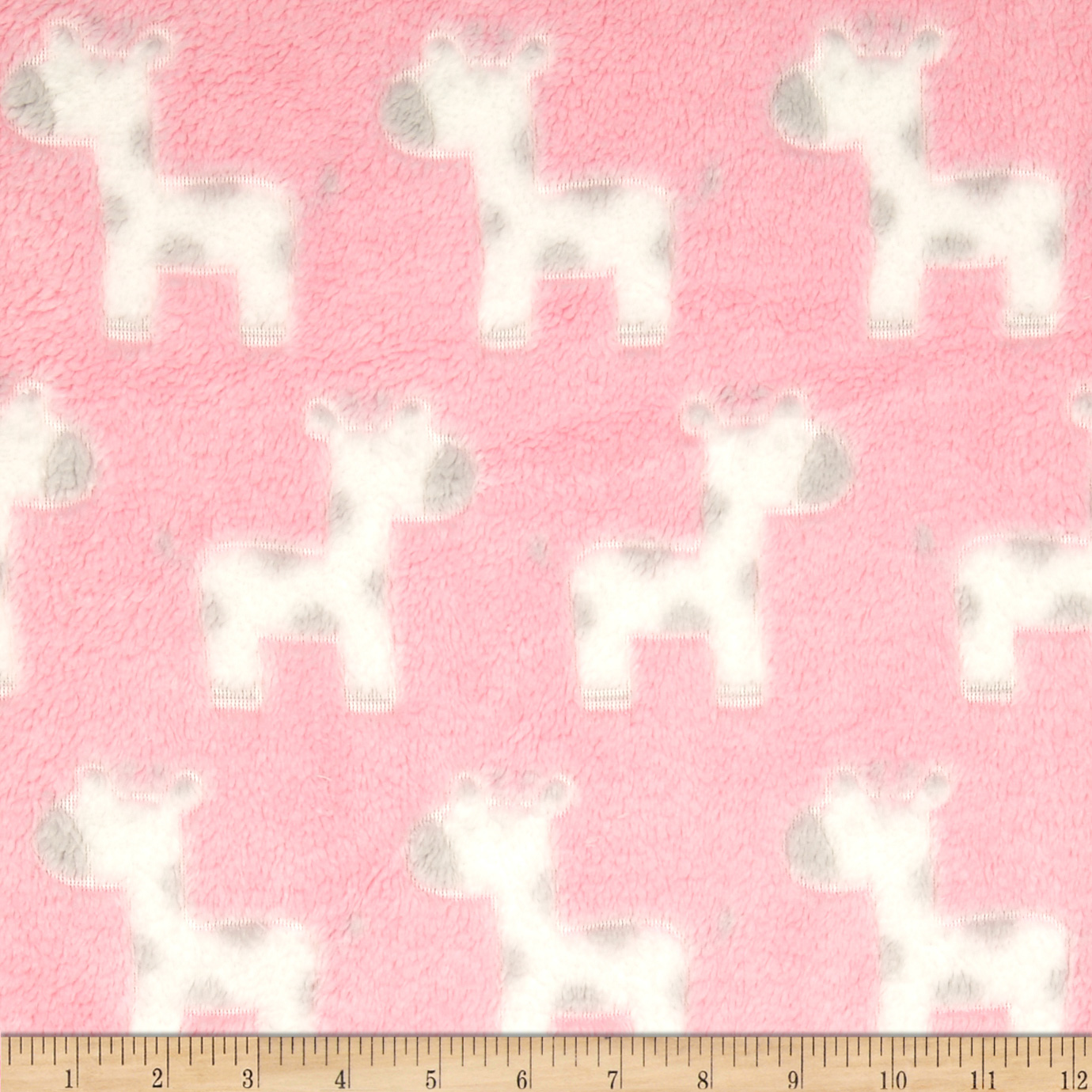 Minky Snuggle Fleece Baby Giraffe Light Pink Fabric