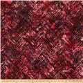 Bali Batiks Handpaints Chevron Brush Pomegranite