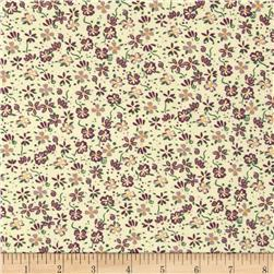 Printed Corduroy 21 Wale Floral Soft Yellow/Purple