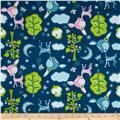 Flannel Forest Animals Dark Blue