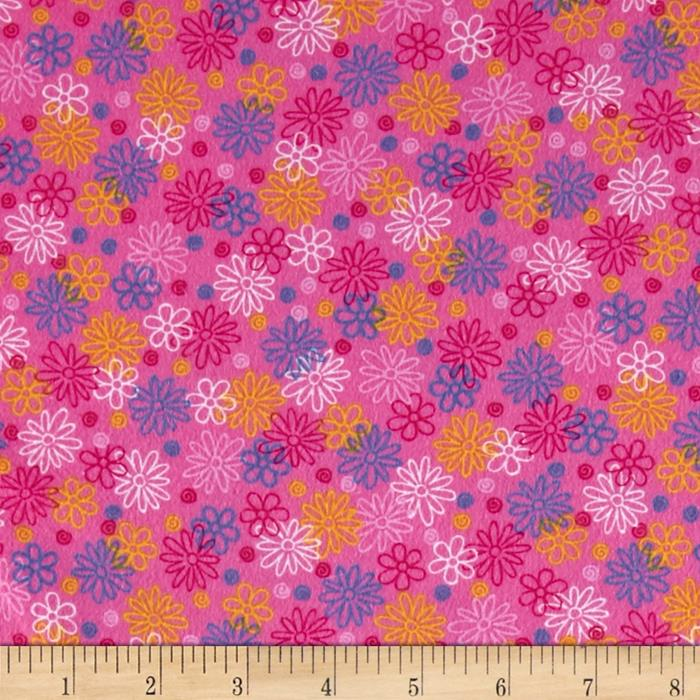 Catalina Flannel Daisies Pink