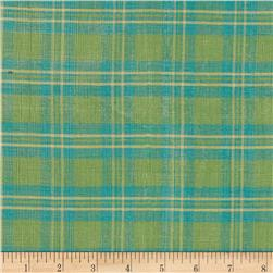 Metallic Shot Cotton Buffalo Plaid Green/Aqua Fabric