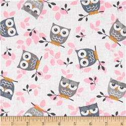 Tossed Owls White/Grey/Pink