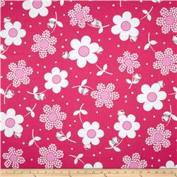 Hello Kitty Giant Daisies Hot Pink Fabric
