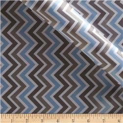 Charmeuse Satin Zig Zag Baby Blue/Silver/White Fabric