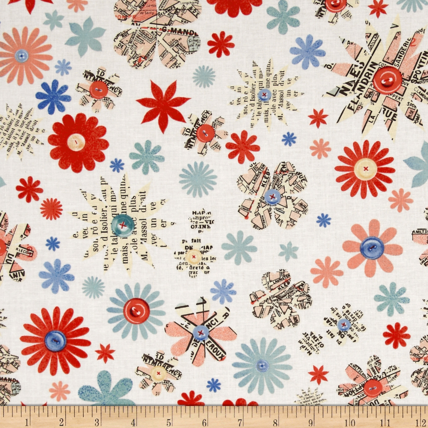 Handmade Flowers & Buttons Cream Fabric