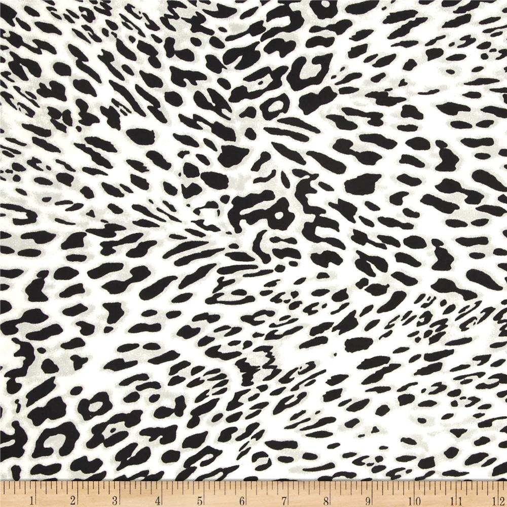 Nylon Lycra Jersey Knit Swimwear Animal Leopard Black/Grey/White