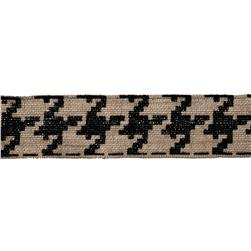 "2 3/8"" Burlap Trim Houndstooth Black"