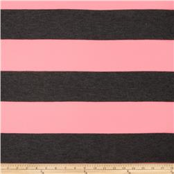 Yarn Dyed Jersey Knit Stripe Neon Pink/Grey