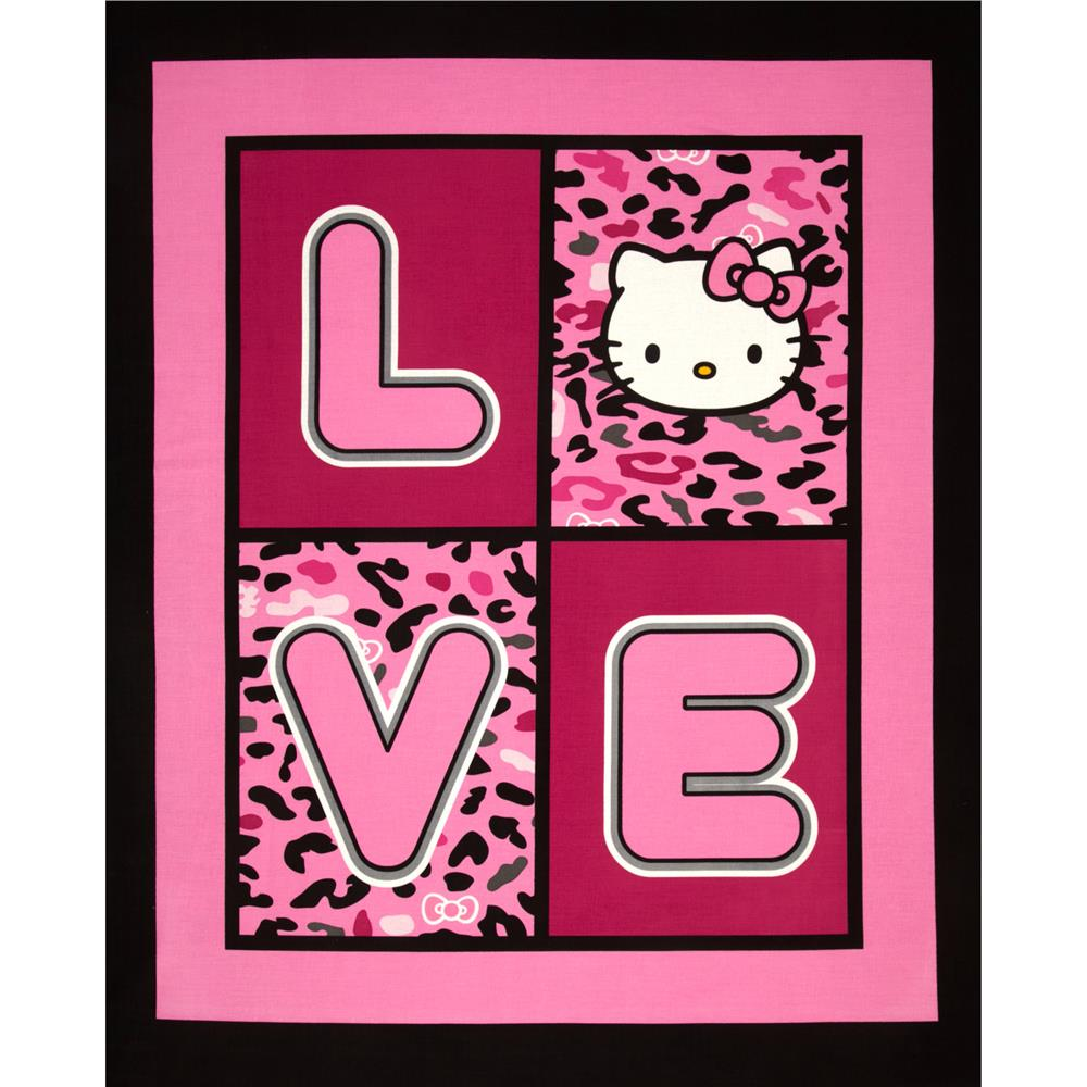Hello Kitty Cheetah Love Panel Pink/Black