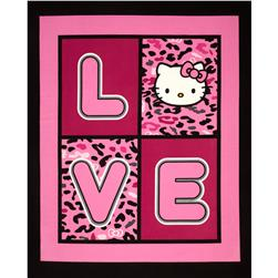 Hello Kitty Cheetah Love Panel Pink/Black Fabric