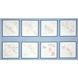 Lazy Daisy Baskets Block Panel Blue