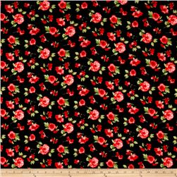 Double Brushed Poly Spandex Jersey Knit Floral Black/Red/Green