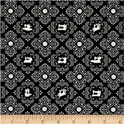 Cute as a Button Sewing Machine Medallions Black