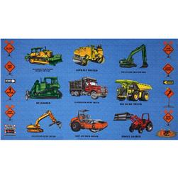 "Detour Ahead Bulldozers 24"" Panel  Blue"