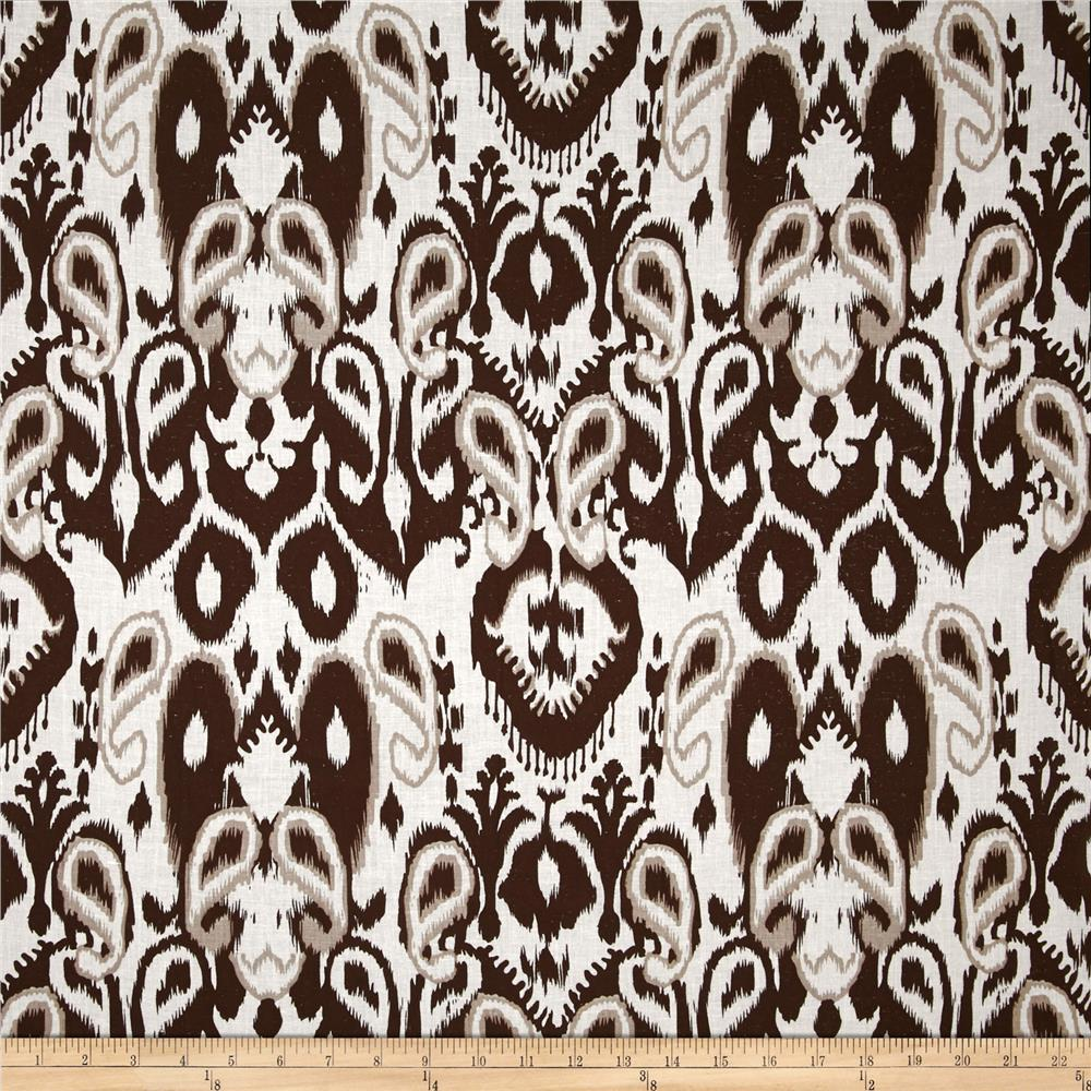 Cotton Lawn Print Ikat Brown/White