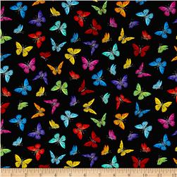 Timeless Treasures Prism Tossed Small Butterflies Black
